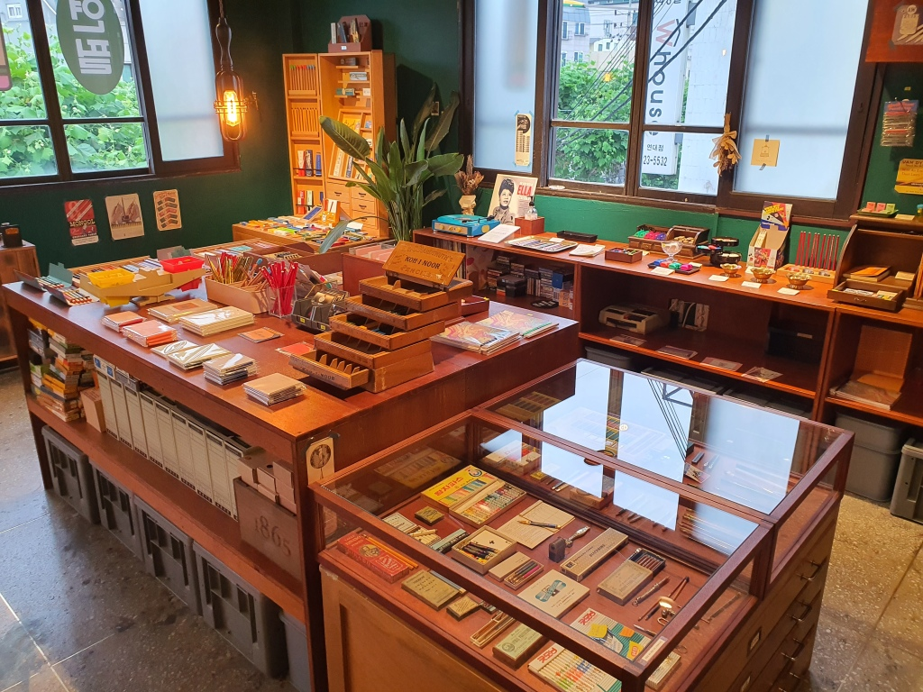 Vintage pencil shop interior display