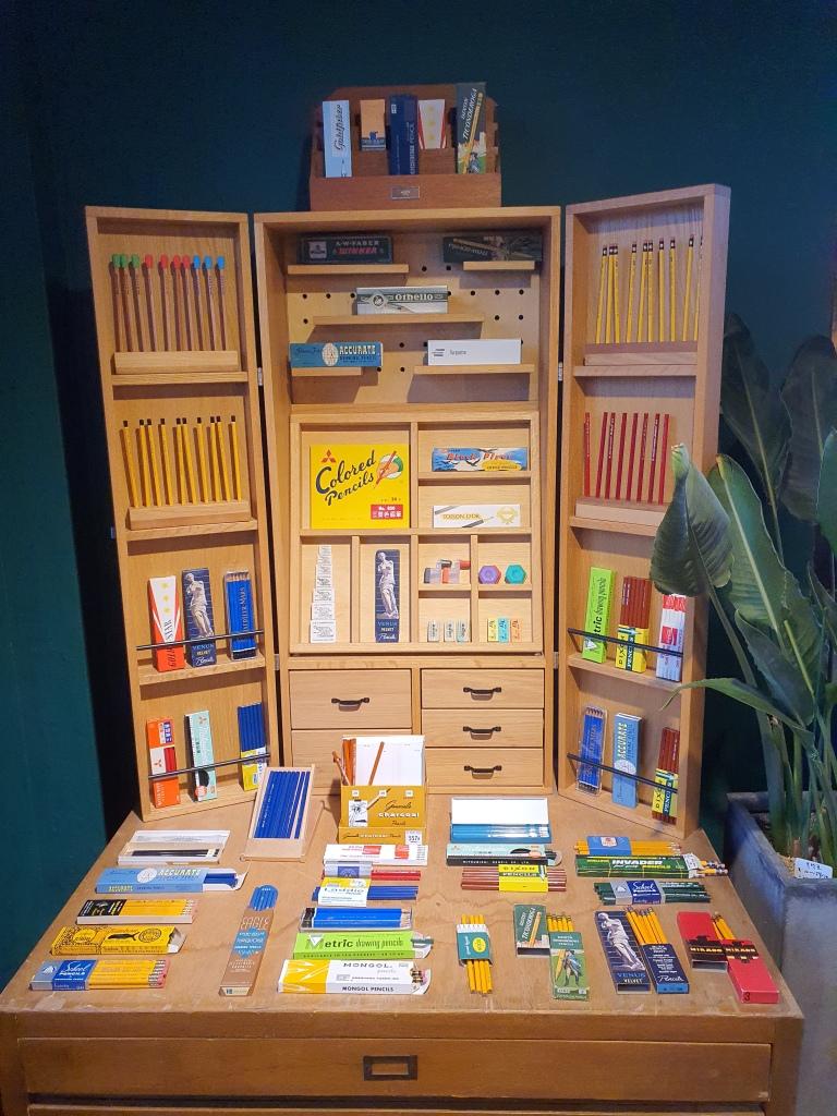 wooden cabinet vintage pencils