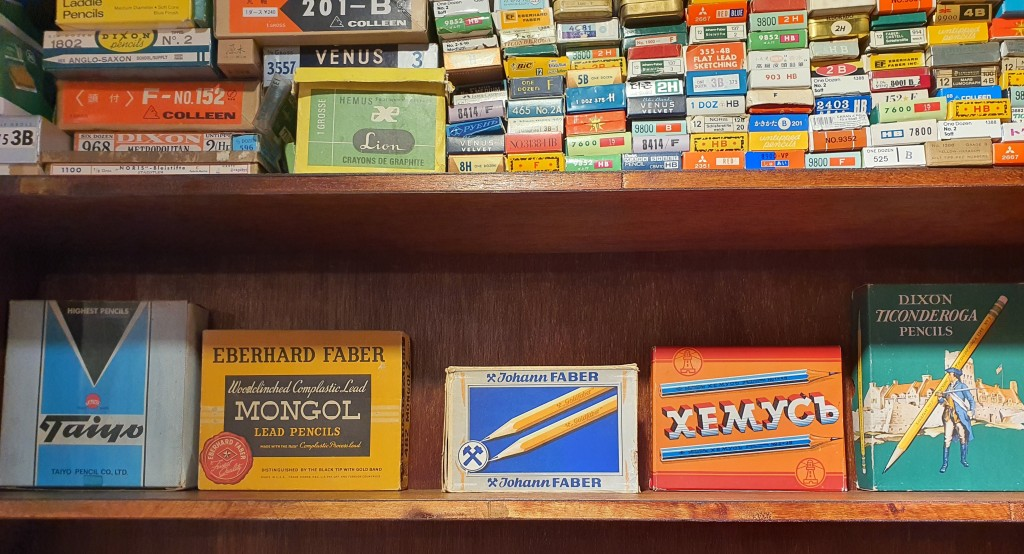 Vintage pencil boxes display