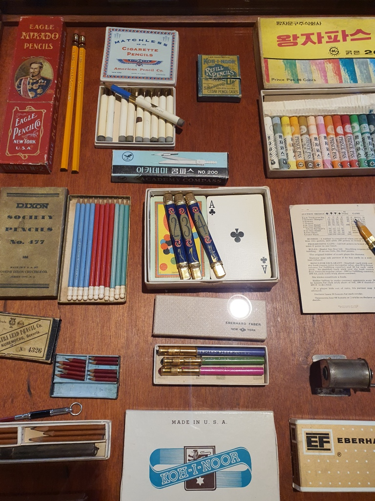 Display of vintage pencils and crayons