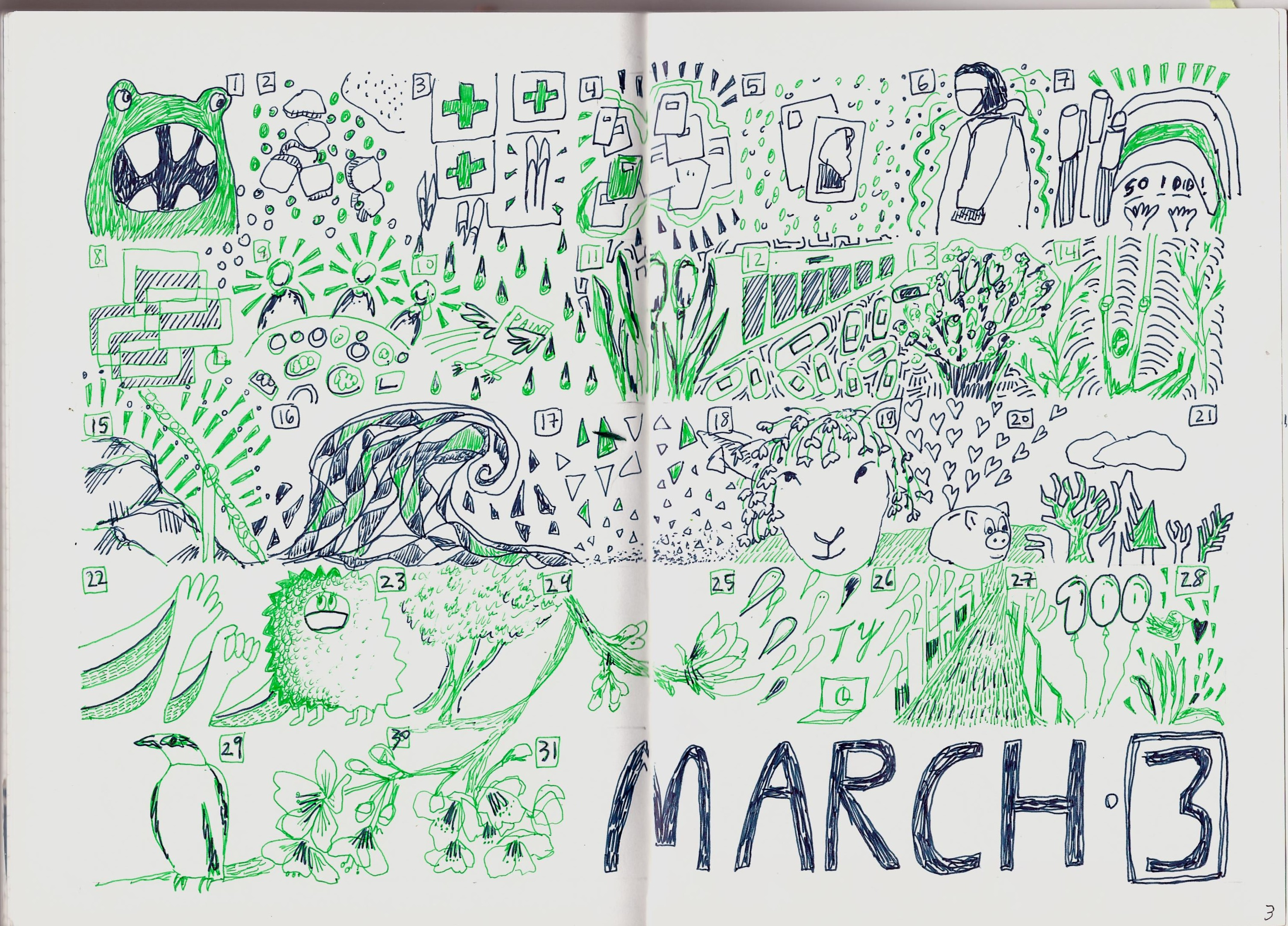 bullet-journal-monthly-spread-march-2020