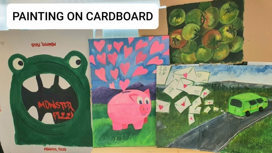 paintings on cardboard of inspiring stories
