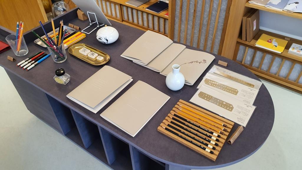 minimal aesthetic stationery display