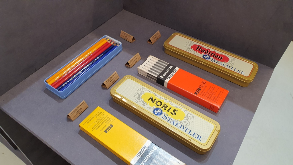 display of vintage pencil cases