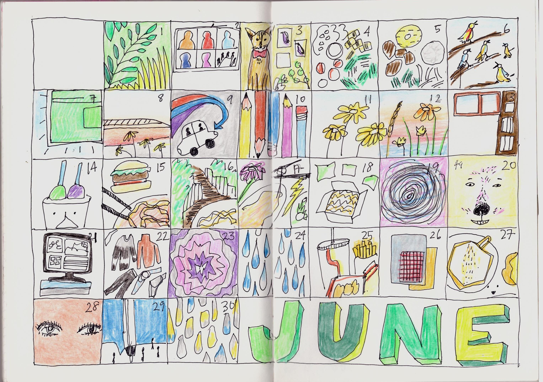 Summer doodle calendar