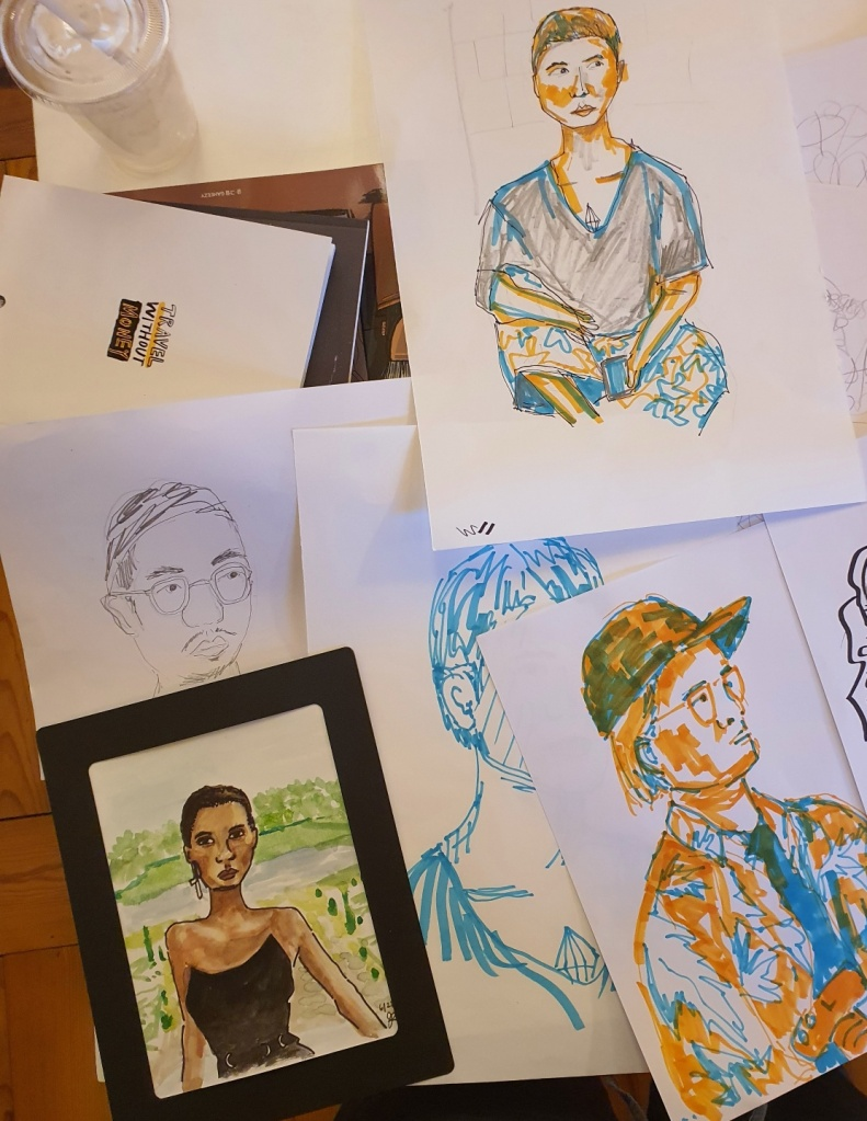 portrait studies marker watercolor