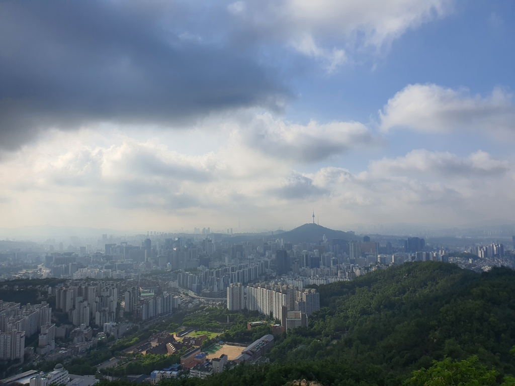 Seoul mountaintop view