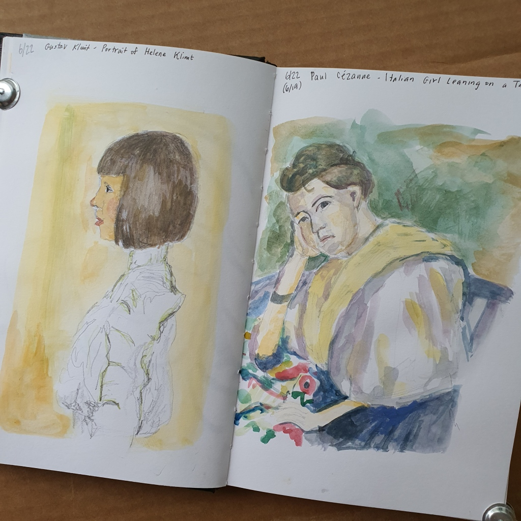 Watercolor studies of Klimt and Cezanne